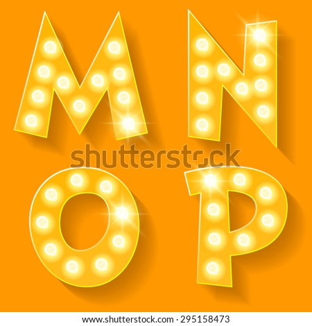 Vector yellow lamp alphabet for theatre, cinema and other entertainment. Letters M N O P  - stock vector