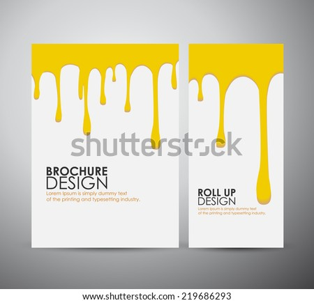 Vector yellow paint drips on brochure business design template or roll up.  - stock vector