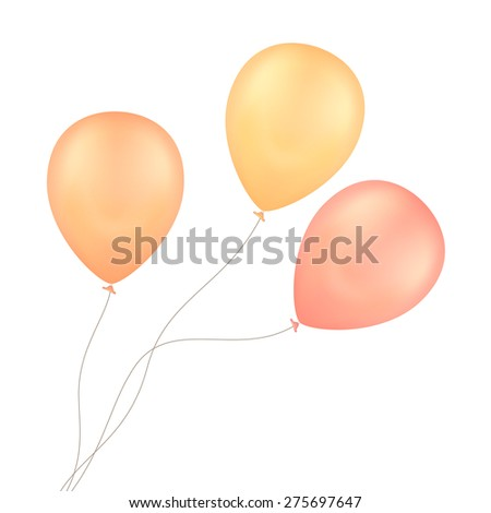 Vector Yellow Red Balloons Isolated on White Background - stock vector