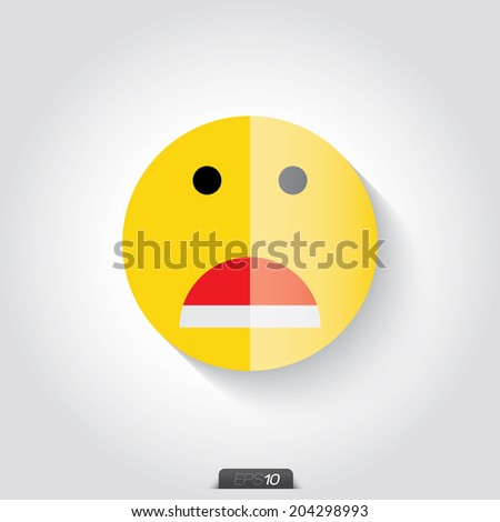 Vector  Yellow  Smile Icon on gray background, facial expression - stock vector