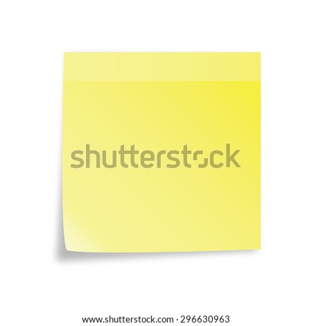 Vector yellow sticky note isolated on white background - stock vector