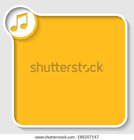 vector yellow text frame and music icon - stock vector