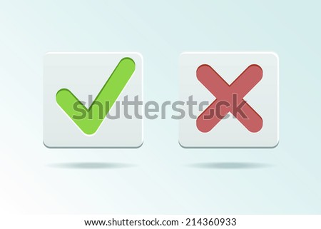 Vector Yes and No check marks  - stock vector