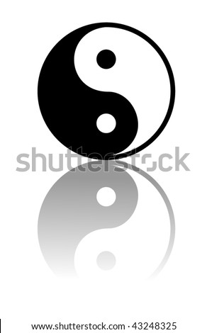 Vector Yin and Yang i-ching illustration - stock vector