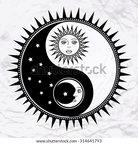 Vector yin yang symbol with sun, moon, faces, stars. Abstract occult and mystic sign. Black and white spiritual design. Concept of feng shui, magic, opposite, man woman relations, astrology, zen, yoga - stock vector