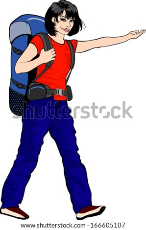 vector young girl traveler with backpack - stock vector
