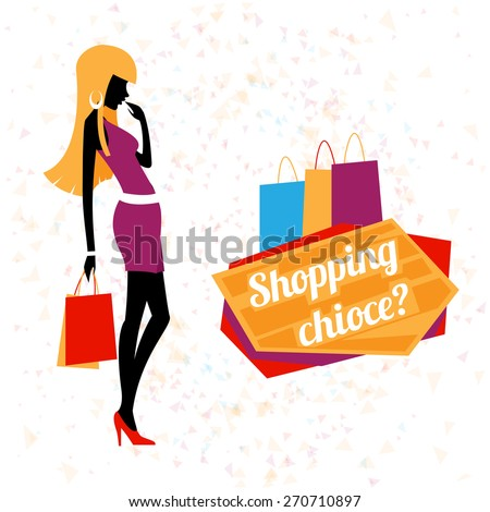 Vector young woman shopping. Fashion young girl, silhouette female, customer person - stock vector