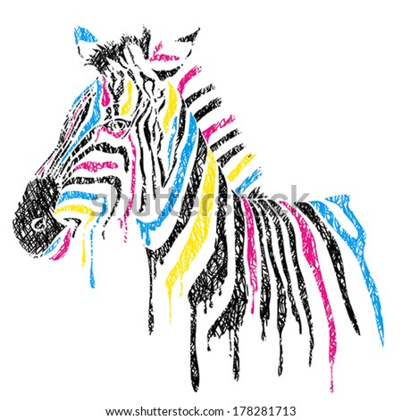 Vector zebra with colored stripes, sketch style - stock vector