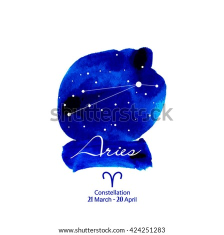 Vector Zodiac constellations Aries. Illustration of night sky, space and stars.Vector watercolor design.Zodiac sign. Zodiac symbol. - stock vector