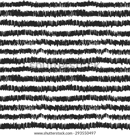 Vectorized ink black and white texture. Hand drawn horizontal stripes seamless pattern - stock vector