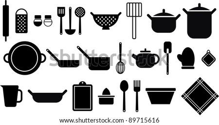 vectorized kitchen utensils - stock vector