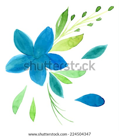 Vectorized watercolor hand drawing floral theme - Large blue flower - stock vector
