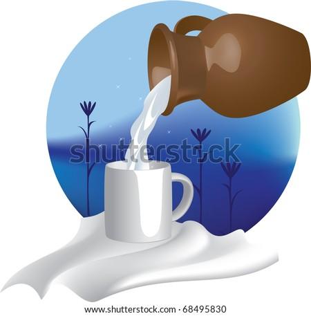 Vectors illustration. Jug with milk - stock vector