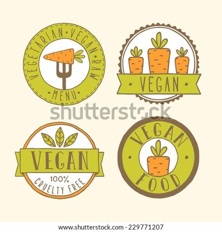 Vegan badges. - stock vector