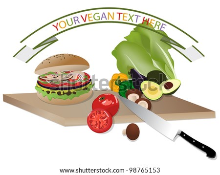 Vegan burger and vegetables on wooden cutting board - stock vector