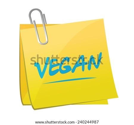 vegan memo post. illustration design over a white background - stock vector