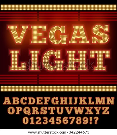 Vegas Casino or Retro Broadway Style Night Font. Gold and Red colored vector alphabet - stock vector