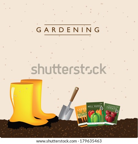 Vegetable gardening boots background EPS 10 vector, grouped for easy editing. No open shapes or paths. - stock vector