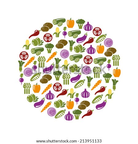 vegetable icons in circle - stock vector