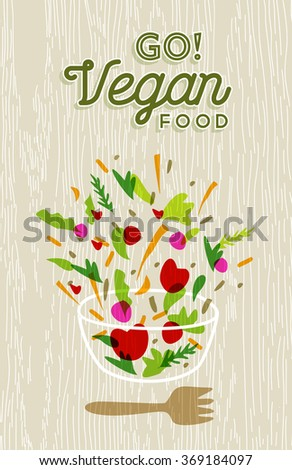 Vegetable salad illustration with vegan food text and wood texture background. EPS10 vector. - stock vector