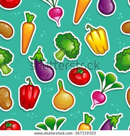 vegetable seamless pattern 10eps vector - stock vector