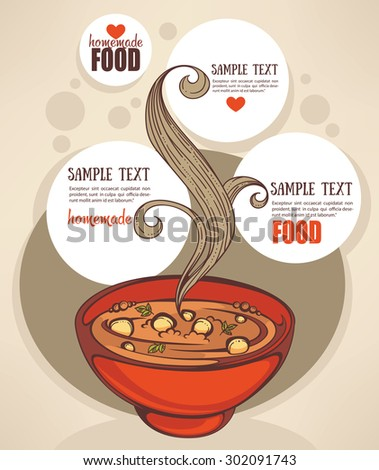 Vegetable soup design template. Homemade food menu background - stock vector