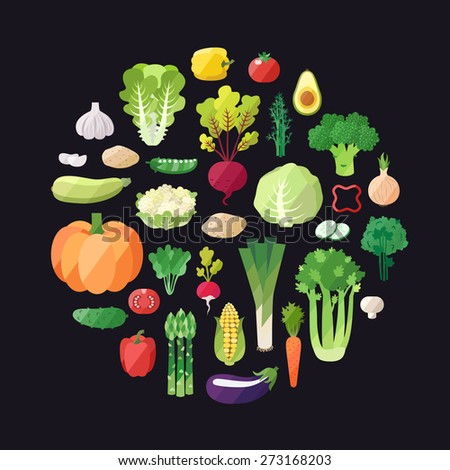 Vegetable vector circle background. Modern flat design. Healthy food background. - stock vector