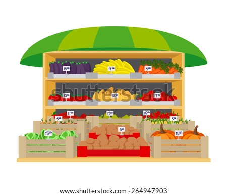 Vegetables and fruits market. Eggplant and peppers, onions and potatoes,  healthy and tomato, banana and apple, pear and pumpkin. Vector illustration - stock vector
