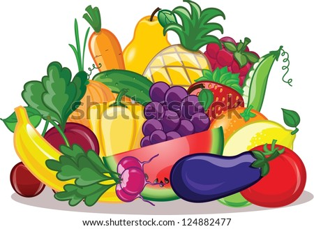 Vegetables and fruits, vector background - stock vector