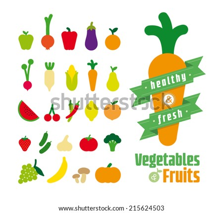 Vegetables and fruits vector illustration - stock vector