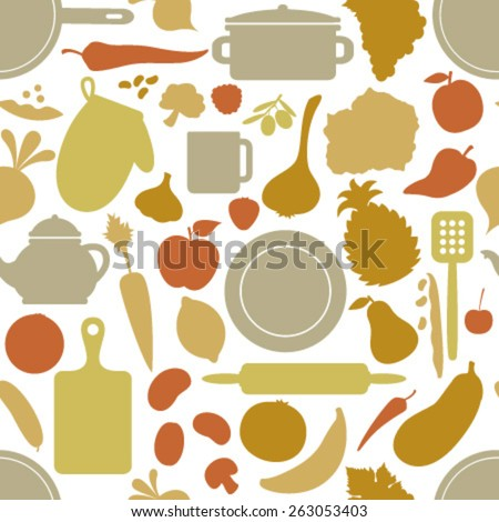 vegetables & dishes on beige seamless pattern - stock vector