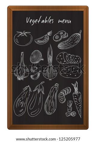 Vegetables drawn in chalk on the blackboard - stock vector