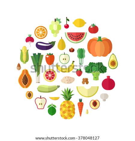 Vegetables, fruits and nuts food vector circle background. Modern flat design. - stock vector