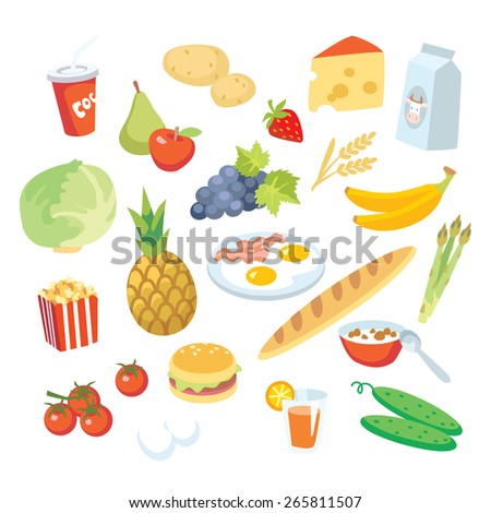 vegetables, fruits, fast food, healthy food - stock vector