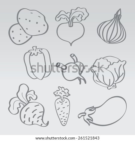 Vegetables icon set. Vector. - stock vector