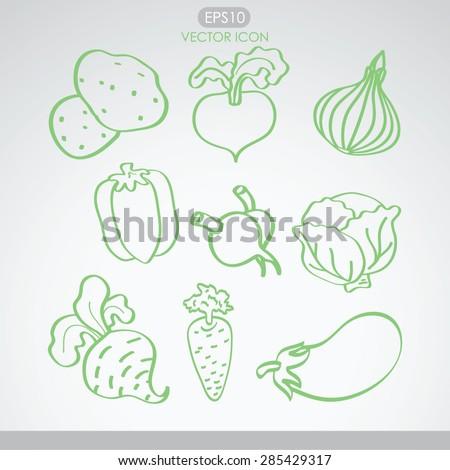 Vegetables icon set. Vector. - stock vector