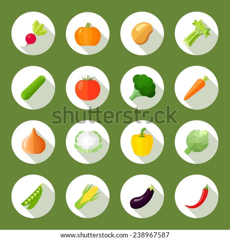 Vegetables icons flat set with radish pumpkin potato celery isolated vector illustration - stock vector