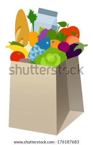 vegetables in paper bag - stock vector