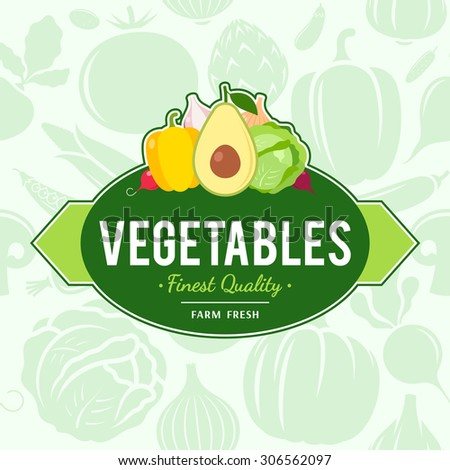 Vegetables logo, grocery label template over vegetables icons seamless pattern - stock vector