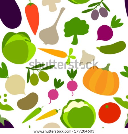 vegetables on white seamless pattern - stock vector