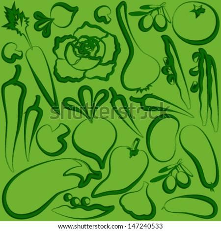 vegetables outline on green seamless pattern - stock vector