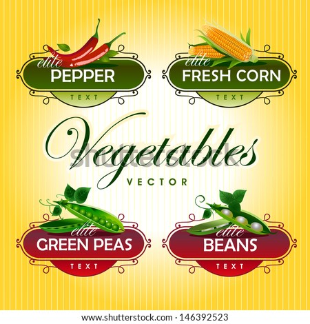 Vegetables. Peas, pepper, corn, beans - stock vector