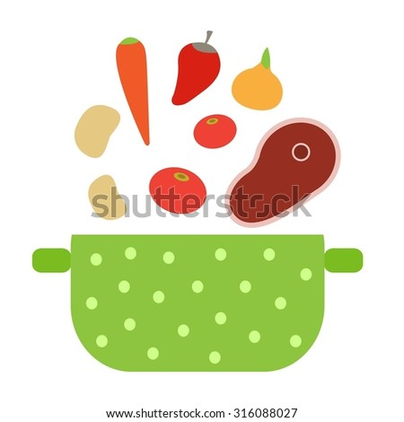 Vegetables put in a saucepan.Illustration of cooking soup. Cooking vegetables in saucepan. - stock vector