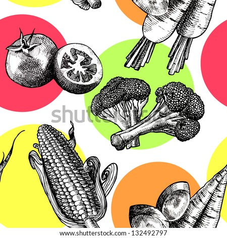 Vegetables, seamless pattern - stock vector