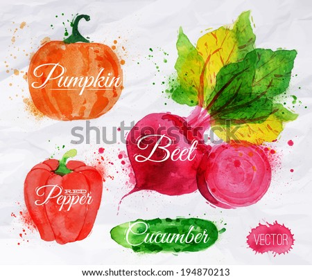 Vegetables set drawn watercolor blots and stains with a spray pumpkin, beet, pepper, cucumber - stock vector