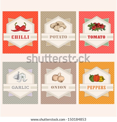 vegetables set labels, garlic, tomato, potato, onion, chilly, pepper - stock vector