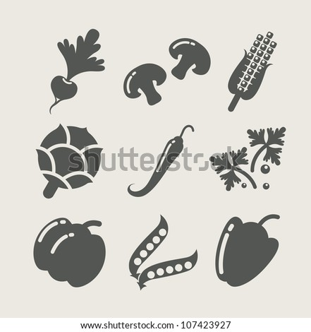 vegetables set of icons vector illustration - stock vector