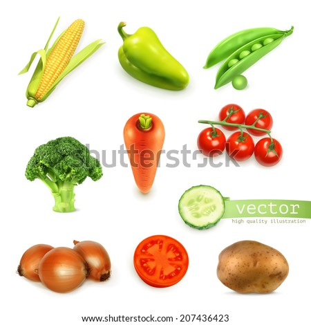 Vegetables set, vector illustration - stock vector
