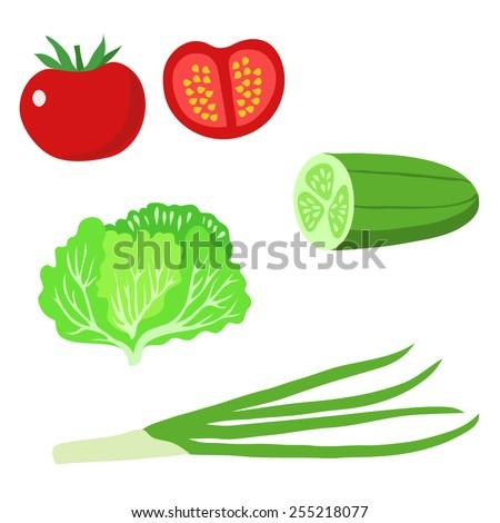 Vegetables set. Vector illustration.  - stock vector