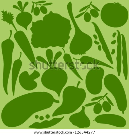 vegetables silhouette on green seamless pattern - stock vector